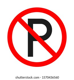 No parking allowed sign on white background. No parking or stopping sign. Vector stock illustration.