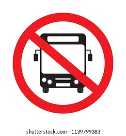 No parking bus stop signs transport vector prohibition symbols illustration isolated on white background.