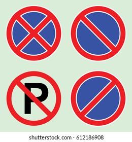 No parking set sign