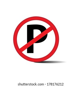 No parking sign on white background - Vector.