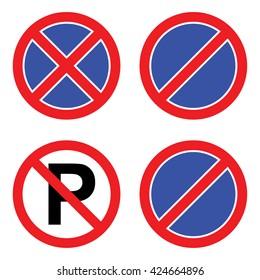 No parking sign set. Vector illustration