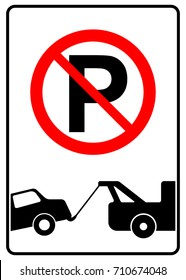 No parking sign with tow away symbol, vector illustration.