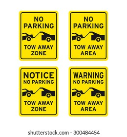 No parking sign vector set tow away zone