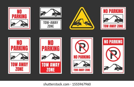 no parking, tow away zone sign set