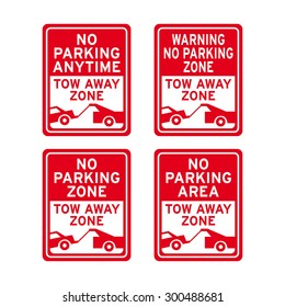 No parking tow away zone sign vector set