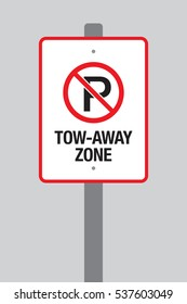 No parking tow away zone sign in vector format on a pole over a simple grey background.