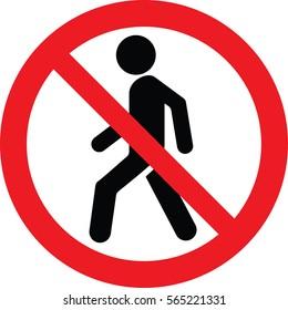 NO PEDESTRIAN sign vector