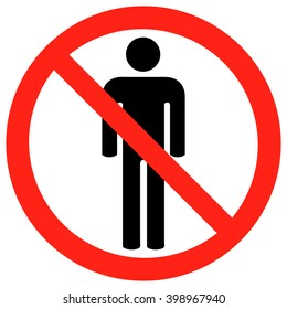 No People Allowed Sign, Vector Illustration.