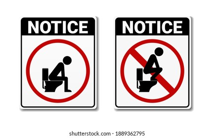 No, and permit toilet sign. Dont step on the toilet seat. Do not squat on the toilet and sitting on toilet banner sign. Illustration vector