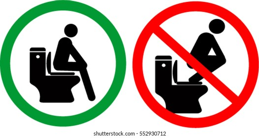 no, and permit toilet signs