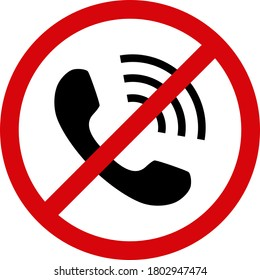 No phone calls icon on a white background. Isolated no phone calls symbol with flat style.