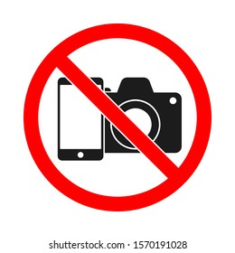 No phone, no camera sign on white background. Phone and camera forbidden vector sign. No photo sign isolated