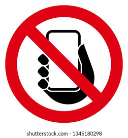 No phone icon. Vector icon of prohibitory sign with mobile phone inside