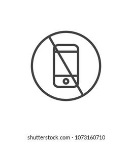 No phone outline icon. linear style sign for mobile concept and web design. No talking and calling prohibition simple line vector icon. Symbol, logo illustration. Pixel perfect vector graphics