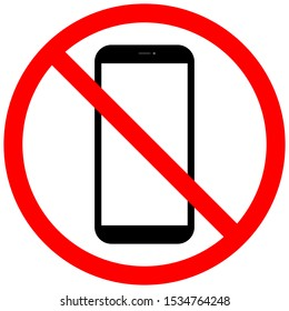 No phone sign. Phone crossed out. Prohibition on communication. Vector illustration