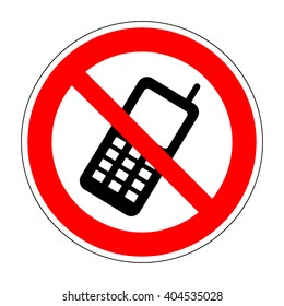 No phone sign. No phone icon great for any use. Vector no cell phone image. Flat design style. Mobile phone prohibited. No cell phone sign isolated on white background. Stock Vector illustration