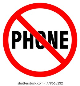 No phone sign. Red circle prohobition. No talking, no calling forbidden icon vector illustration