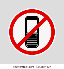 No phone sign. Silent mode handphone icon, sign warning vector illustration.
