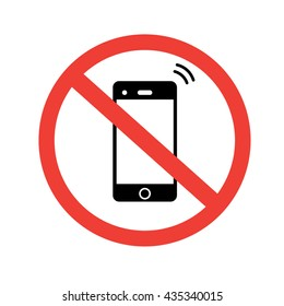 No phone sign. No talking and calling icon. Red cell prohibition. Vector illustration.