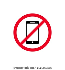No phone sign vector flat icon. No talking and calling icon. Red cell prohibition illustration