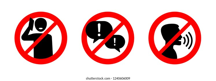 No phone talking, silence please, keep quiet - prohibition vector sign in three variations - vector icons set