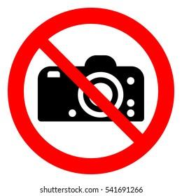 No photo, no camera, prohibition sign. Taking photographs prohibited, vector illustration.