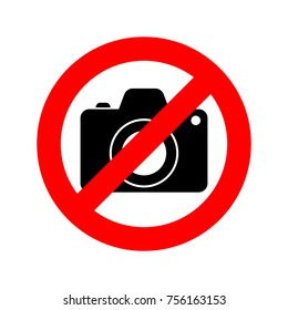 No Photo camera sign. Vector illustration. No photography sign, isolated on white background.