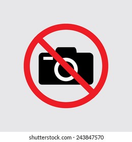 No photo camera vector sign isolated  on a grey background