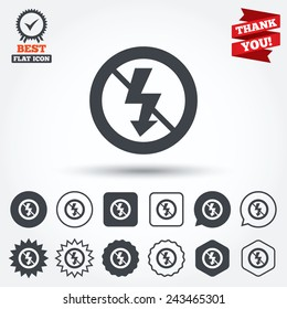 No Photo flash sign icon. Lightning symbol. Circle, star, speech bubble and square buttons. Award medal with check mark. Thank you ribbon. Vector