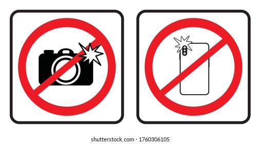 No photo sign collection,Don`t take photos icon collection