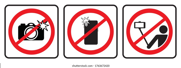 No photo sign and No selfie icon, Don`t take photos & selfies  icons