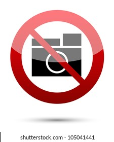 No photograph sign on white