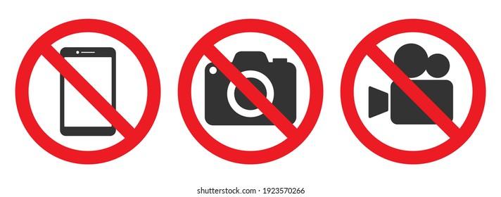 No Photographing prohibition sign symbol icon. Video, photo, phone, prohibited logo pictogram. Vector illustration. Isolated on white background.