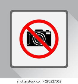 No photographing sign icon, vector illustration. Flat design style