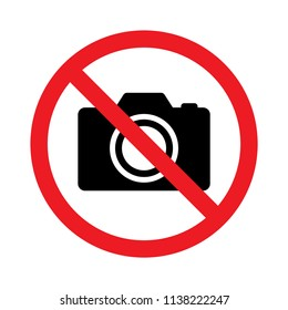 No photography, No camera sign, Prohibition symbol sticker for area places, Isolated on white background, Flat design vector illustration