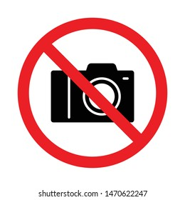 No photography, No camera sign, Taking pictures not allowed, Prohibition symbol sticker for area places, Isolated on white background, Flat design vector illustration