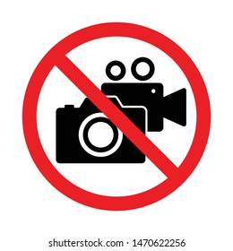 No photography camera and video record sign, Taking pictures and recording not allowed, Prohibition symbol sticker for area places, Isolated on white background, Flat design vector illustration