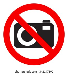 No photography icon, prohibition sign, isolated on white background, vector illustration.