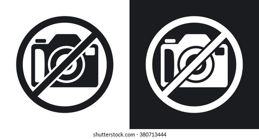 No photography sign, vector. Two-tone version on black and white background