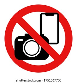 No photography, smartphone, mobile nor camera allowed. Restricted sign vector illustration.