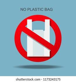 No plastic bag forbidden sign.