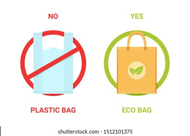 no plastic bag, yes eco bag banner. stop using disposable polythene or cellophane package ban sign. pollution problem concept. isolated on white background. vector illustration