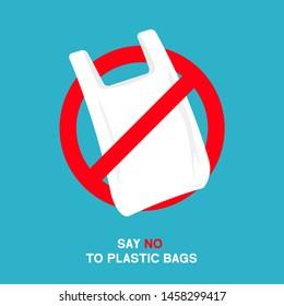 No plastic bags sign concept illustration. Stop pollution eco symbol icon, plastic bag ban forbidden trash sign.