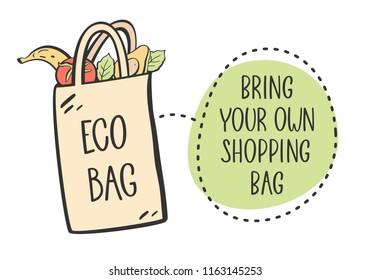 No plastic, bring your own bag concept. Vector illustration.