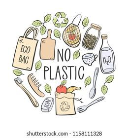 No plastic. Eco lifestyle. Vector illustration.