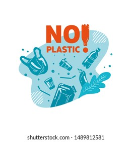 No plastic! Vector flat illustration for World Environment Day. Lettering in sea with garbage - in water are plastic bag, glass, straw, bottle, canisters. Harm to nature. design for banner, poster, we