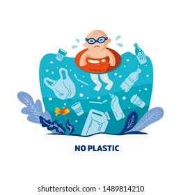 No plastic! Vector flat illustration for World Environment Day. A baby swims in sea with garbage - in water are plastic bag, glass, straw, bottle, canisters. Harm to nature. Design for banner, poster