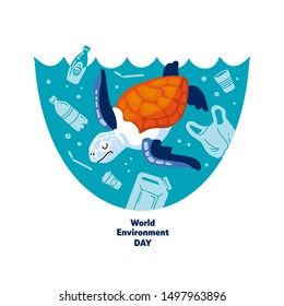 No plastic! Vector flat illustration for World Environment Day. A sea turtle swims in sea with garbage - in water are plastic bag, glass, straw, bottle, canisters. Harm to nature.