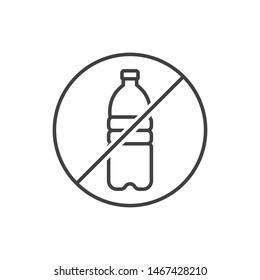 No plastic water bottle line icon.