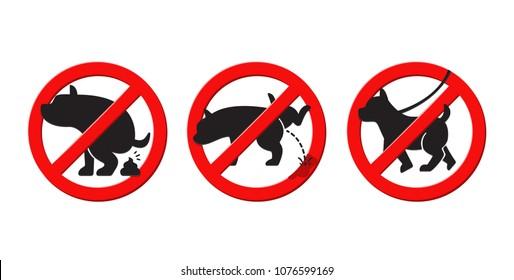 No poop dog no pissing dog sign